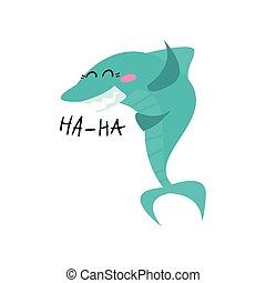 Lindo personaje de dibujos animados de tiburones sonrientes, divertido vector azul de ilustración de pescado azul