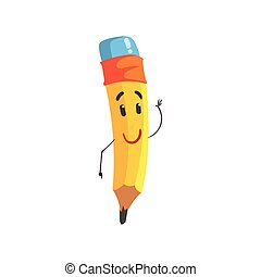 Lindo personaje de lápiz amarillo de dibujos animados humanizado gracioso vector de ilustración lápiz