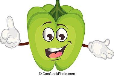 Lindo personaje de pimienta. Ilustración de vectores.