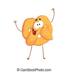 Lindo personaje de pretzel, divertido vector de postre Ilustración