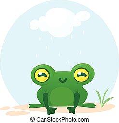 Lindo personaje de rana. Ilustración de vectores