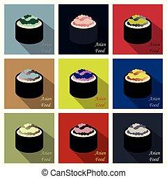 Lindo personaje de rollo con caviar, Ikura Gunkan Sushi vector de Illustración