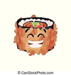 Lindo personaje de sushi japonés, rodar con gracioso vector de dibujo animado Ilustración