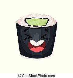 Lindo personaje de sushi riéndose, rodar con gracioso vector de dibujo animado Illustración