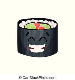 Lindo personaje feliz, sushi con divertida caricatura vector de ilustración