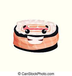 Lindo personaje sonriente de sushi, rodar con gracioso vector de dibujo animado Illustración