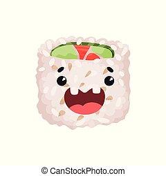 Lindo personaje, sushi con divertida caricatura vector de ilustración