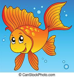 Lindo pez dorado en el agua