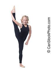 lindo, poco, vertical, gimnasta, posar, dividir