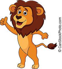 Lindo pulgar de caricatura de león