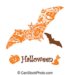 lindo, resumen, murciélago de halloween