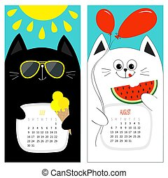 lindo, rojo, fruit., carácter, amarillo, blanco, crema, calendario, negro, sol, sandía, plano, design., agosto, brillar, caricatura, gato, month., azul, julio, set., verano, divertido, sunglasses., hola, hielo, fondo., globo, 2017.