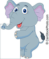 lindo, si, blanco, caricatura, elefante