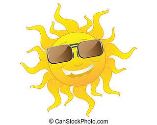 Lindo sol de dibujos con gafas de sol