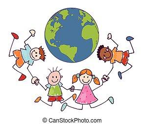 lindo, style., planeta, caricatura, paz, multiétnico, alegre, manos, friendship., garabato, feliz, tenencia, niños, grupo, unidad, círculo, sonriente, niños, verde, earth., alrededor, ambiente