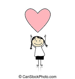 lindo, tenencia, corazón, -, santo de tarjeta de san valentín, niña, día