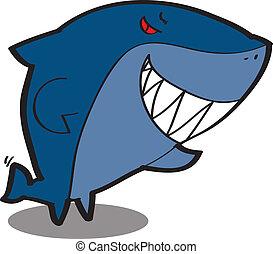 Lindo tiburón de dibujos animados