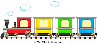 lindo, tren, carril, caricatura, colorido