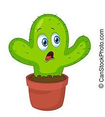 Lindo. Un personaje gracioso de cactus. Ilustración de vectores