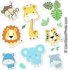 lindo, vector, animales