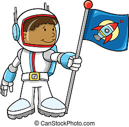 lindo, vector, astronauta, ilustración