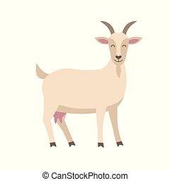 Lindo vector de cabra plana ilustración aislada en fondo blanco. El personaje de dibujos de cabras.