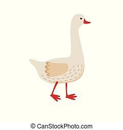 Lindo vector de ganso, ilustración plana aislada en fondo blanco. El personaje de dibujos de ganso de granja.