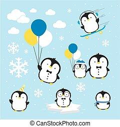 Lindo vector de pingüinos