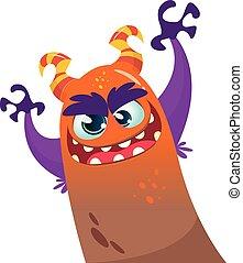Lindo vector monstruo de dibujos animados