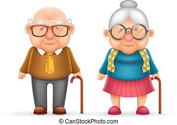 lindo, viejo, familia , carácter, aislado, ilustración, aduelo, realista, vector, diseño, hombre, abuelita, feliz, dama, caricatura, 3d
