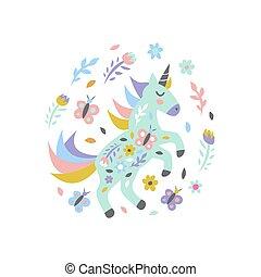 lindo, white., impresión, unicornio, vector, mariposas, poster., flores, ilustración, tarjeta, infantil