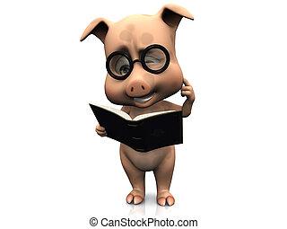 Lindo y confuso cerdo de dibujos animados sosteniendo un libro.