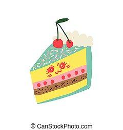 Lindo y delicioso dibujo animado del pastel, adorable postre de kawaii con ilustración graciosa de vector de rostro