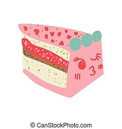 Lindo y delicioso dibujo animado del pastel, adorable postre rosa de Kawaii con ilustración graciosa de vectores faciales