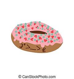 Lindo y delicioso dibujo de rosquilla glaseado, adorable ilustración del vector de postre de Kawaii