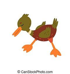 Lindo y divertido dibujo de pato pato de pato pato macho pato, dibujo animado ilustración vectorial