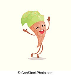 Lindo y divertido helado verde dibujo animado vector de caracter Ilustración