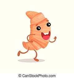 Lindo y gracioso croissant de dibujos animados vector de ilustración