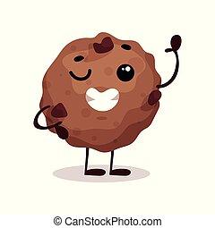 Lindo y gracioso vector de personaje de donut Ilustración