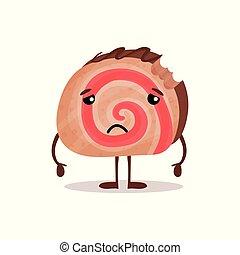 Lindo y triste pastel de chocolate caricatura vector de caracter Ilustración
