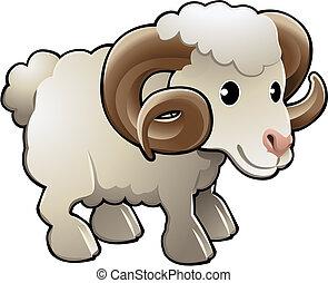 Lindos animales de granja de ovejas de carnero vector ilustración de vector