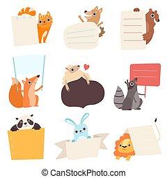 Lindos animales sosteniendo banderas vacías, divertido gato de dibujos animados, perro, oso, zorro, oveja, mapache, panda, conejo, león con letreros en blanco ilustración vectorial