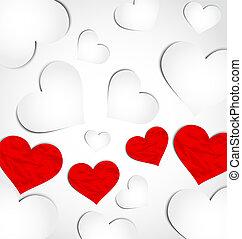 Lindos antecedentes para San Valentín con corazones de papel