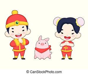 Lindos chicos chinos con un cerdo