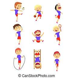 Lindos chicos felices haciendo deportes. Niños activos jugando dibujos animados coloridos