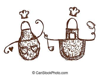Lindos delantales con utensilios de cocina para tu diseño