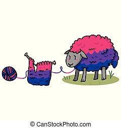 Lindos dibujos animados bisexuales de ovejas bisexuales de dibujos animados de vector de ilustración. Elementos de hilo aislados dibujados a mano para el blog de arte de orgullo, la diversidad gráfica, botones web de Igbt.