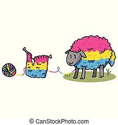 Lindos dibujos animados de dibujos animados de ovejas pansexuales. Elementos de hilo aislados dibujados a mano para el blog de arte de orgullo, la diversidad gráfica, botones web de Igbt.