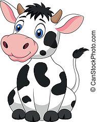 Lindos dibujos animados de vacas sentados