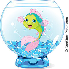 Lindos dibujos animados en el acuario